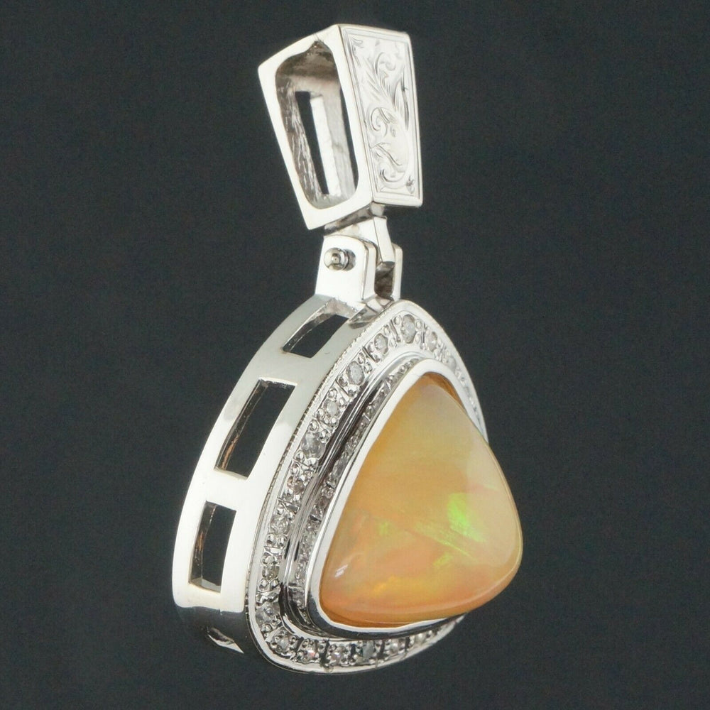Large Solid 14K White Gold, 15.5 Ct. Opal Cabochon & .36 CTW Diamond Estate Pendant