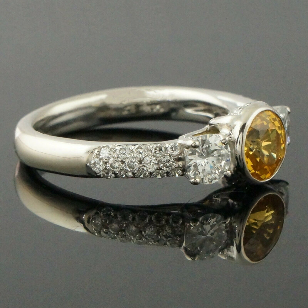 Solid 14K Gold 1.25 Ct Bezel Sapphire & 1.40 CTW Diamond Engagement, Wedding, Anniversary Ring