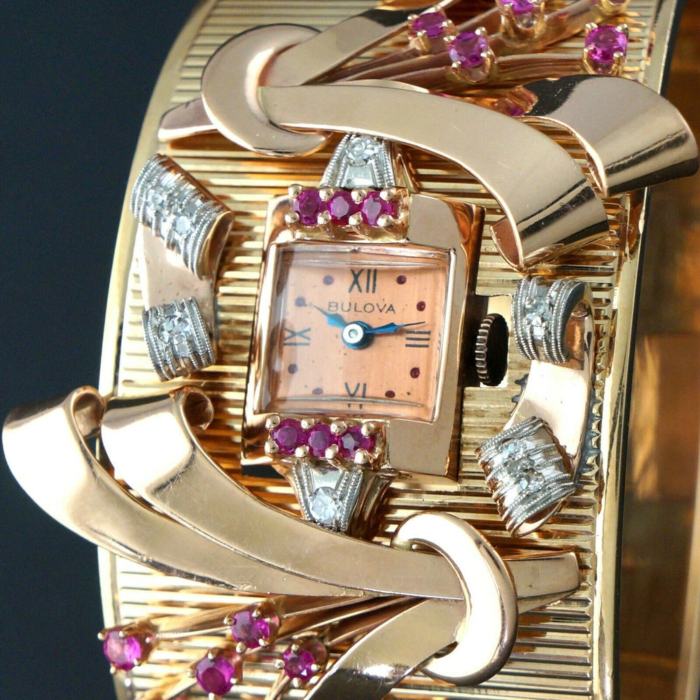 Massive Unique Retro Bulova 14K Rose Gold, Diamond & Ruby Bangle Cuff Watch