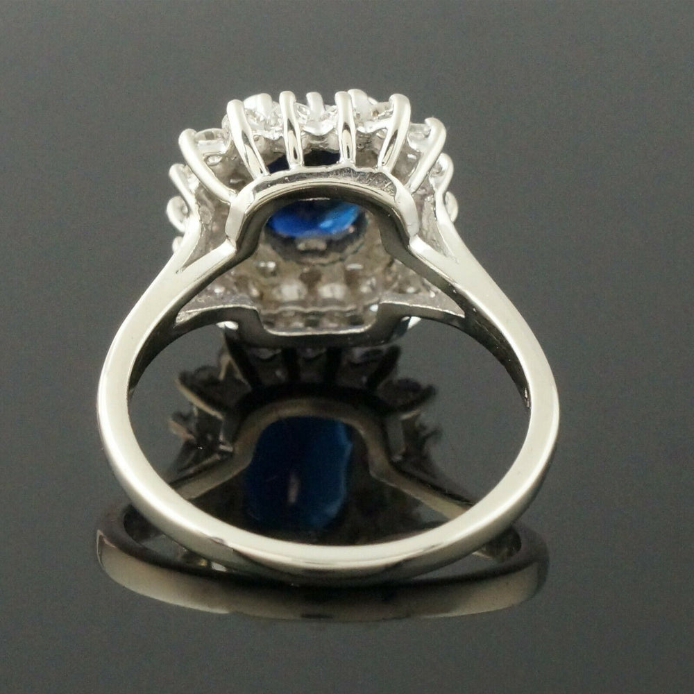 Solid 14K White Gold, 2.0 Ct Sapphire & .85 CTW Diamond Engagement Ring