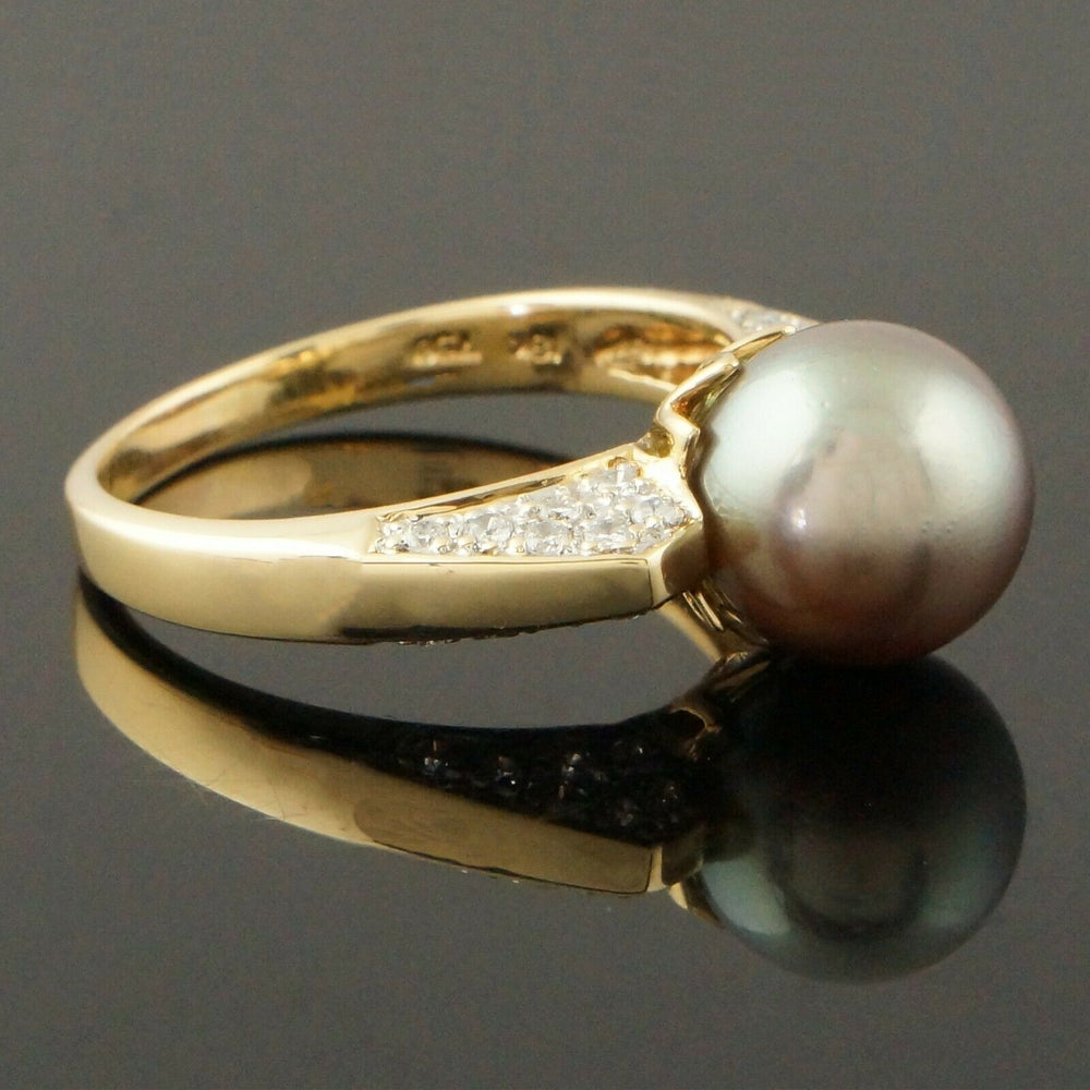 Modernist Solid 18K Yellow Gold, 9.5mm Tahitian Pearl & Diamond Estate Cocktail Ring