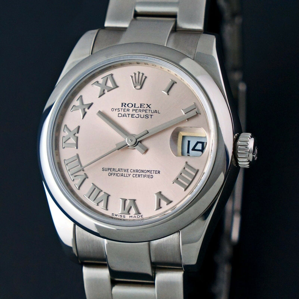 2010 Rolex 178240 Datejust 31mm Pink Roman Dial Mid Size Stainless Steel Watch