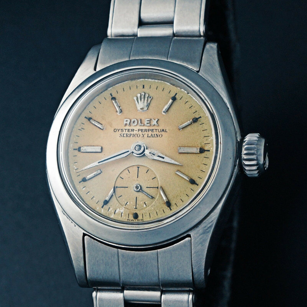 Rare 1958 Rolex Lady's Serpico Y Laino Stainless Steel Oyster Perpetual Wristwatch