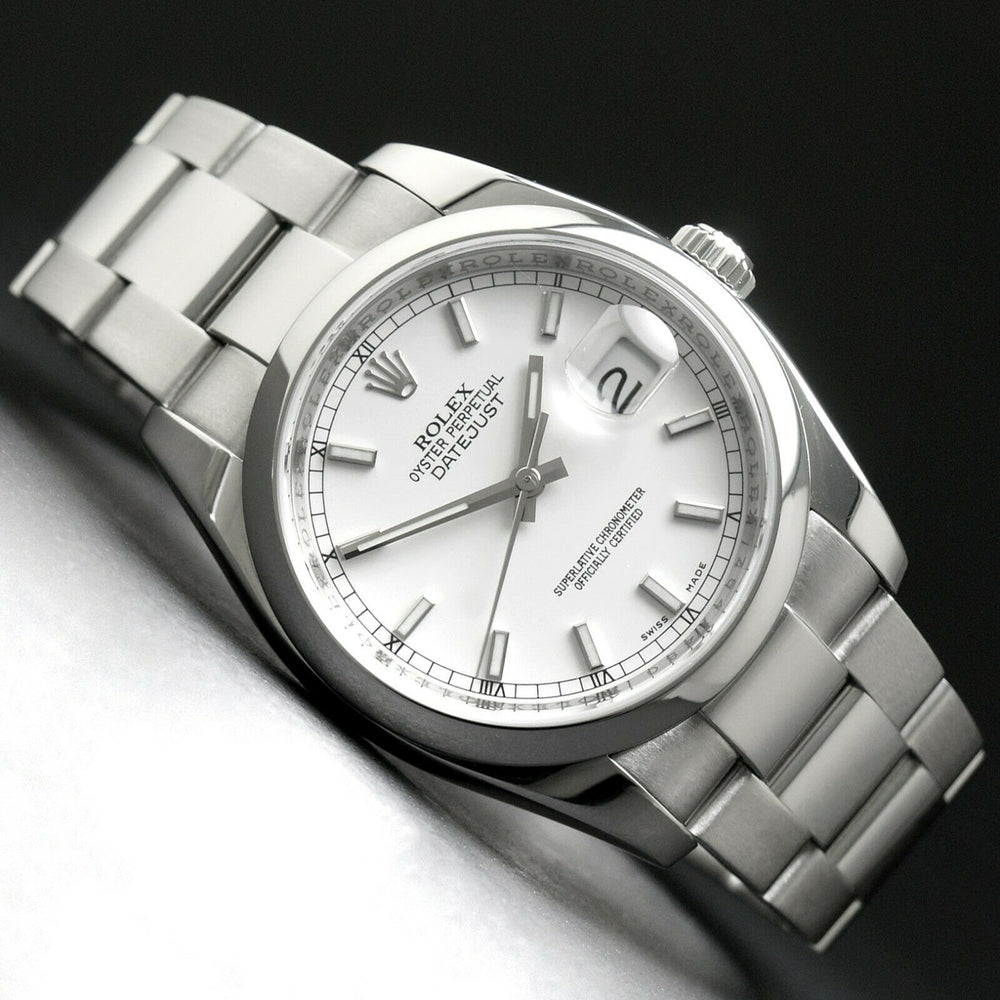 MINT 2007 Rolex 116200 Datejust Stainless Steel 36mm Z Serial Watch White Dial