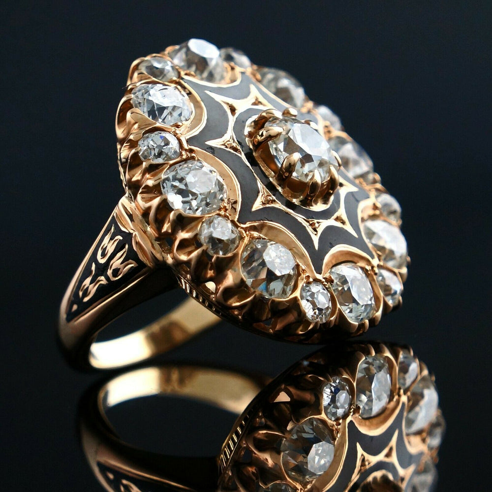 Victorian Solid 14K Gold, 4.20 CTTW OMC Diamond & Enamel Ring