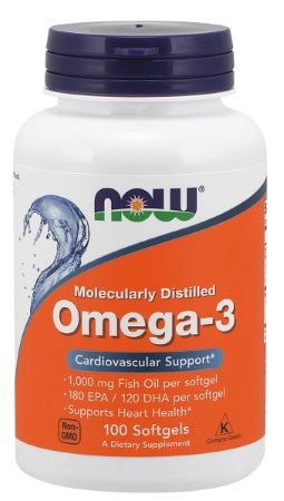 NOW  Omega-3, Molecularly Distilled - 100 Softgels