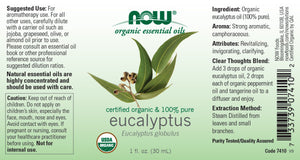NOW  Eucalyptus Globulus Oil, Organic - 1 fl. oz.