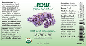 NOW  Lavender Oil, Certified Organic - 1 fl. oz.