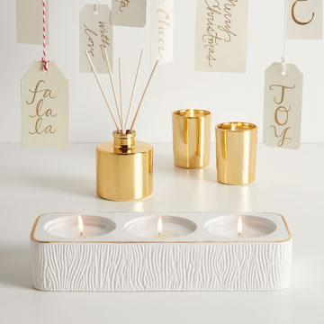Thymes FRASIER FIR CERAMIC TEA LIGHT SET