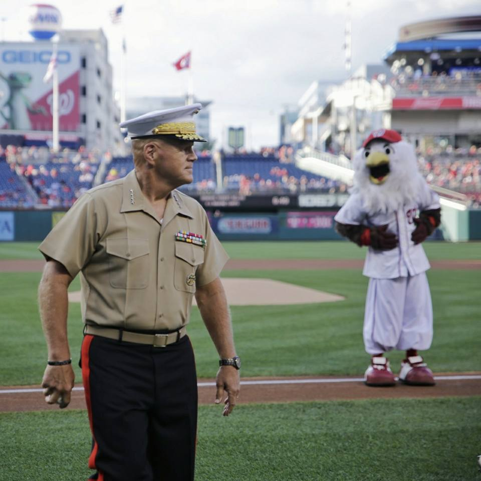 Commandant of the Marine Corps Gen. Robert Neller Starts the Washington Nationals Game by Throwing the Opening Pitch