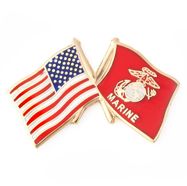 USA and USMC Flag Lapel Pin