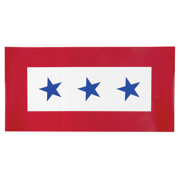 Three Star Service Flag 6 x 3 Decal