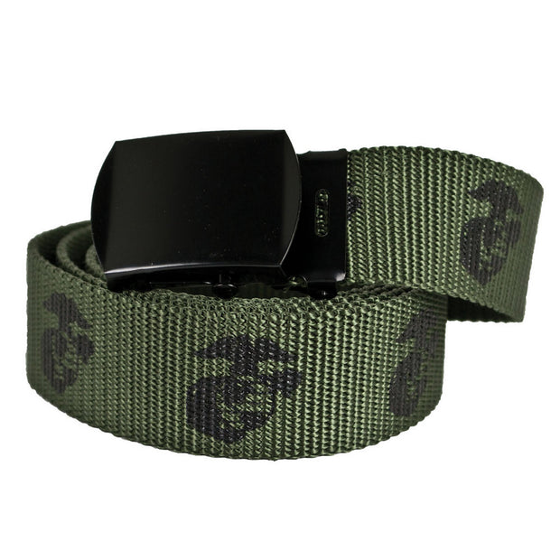Eagle Globe and Anchor OD Green Web Belt