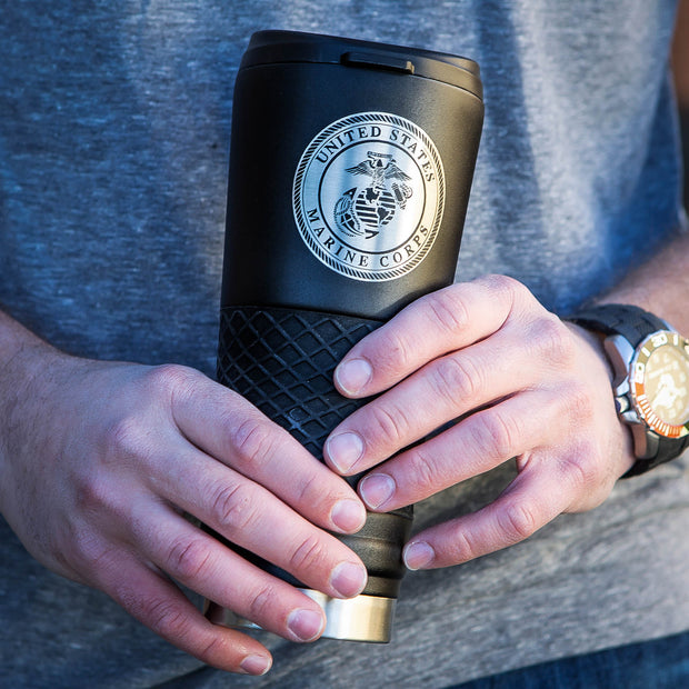 Marine Corps Black Tumbler with Black Grip