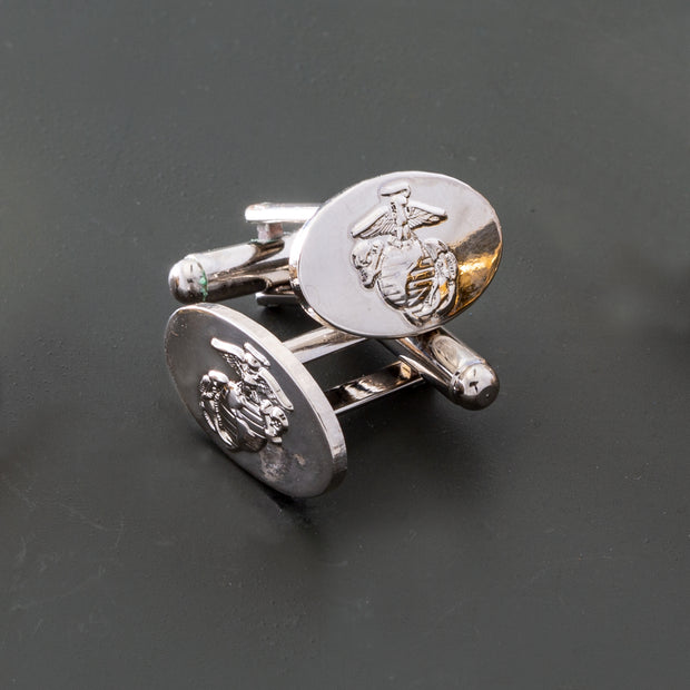 Eagle Globe and Anchor Silver Cufflinks Right and Left