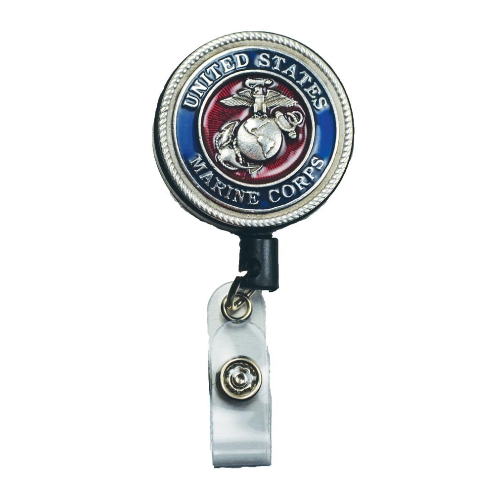 Pewter Marine Corps Retractable Badge Holder