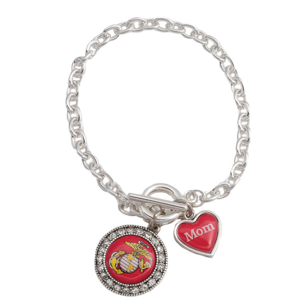 Mom Charm Bracelet with Eagle Globe and Anchor
