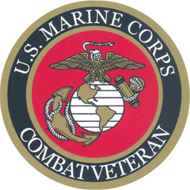 "USMC Combat Veteran 3"" Round Decal"
