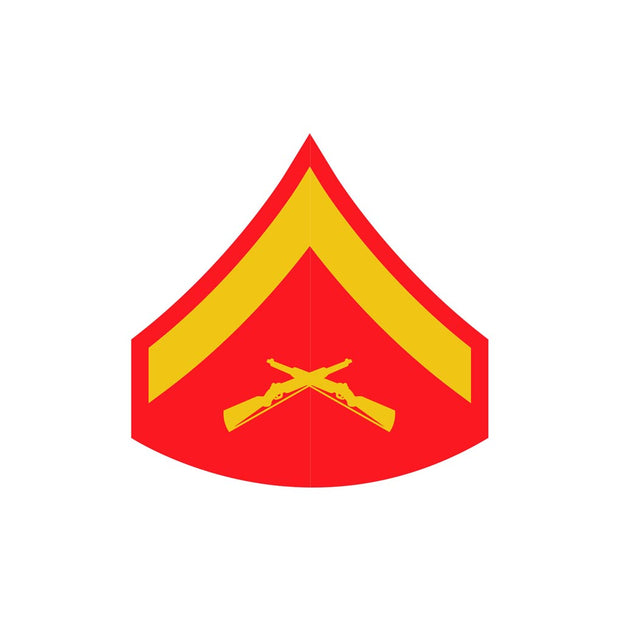 Lance Corporal Red and Gold Rank Insignia Decal