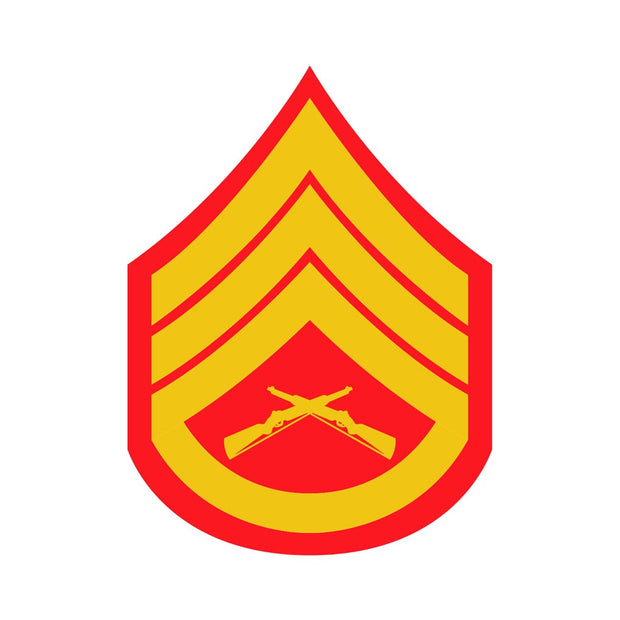 Staff Sergeant Red and Gold Rank Insignia Decal