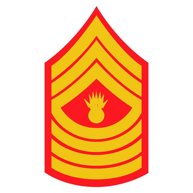 Master Gunnery Sergeant Red and Gold Sgt Rank Insignia  Decal