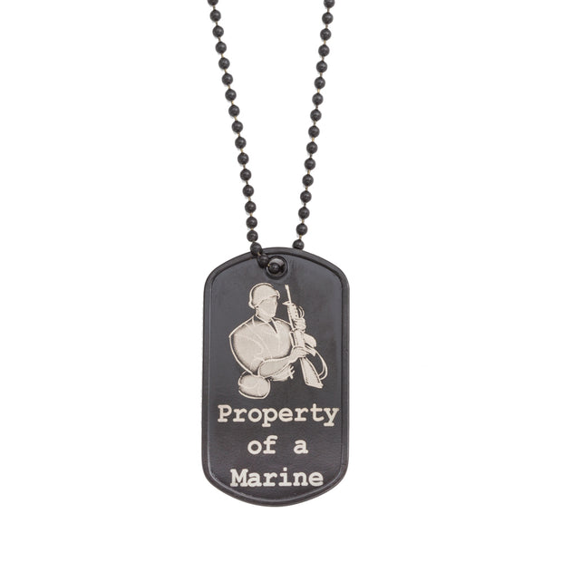 Women's Property of a Marine Black Dogtag