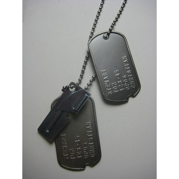 Notched Stainless Steel Dog Tags with FREE P38 Can Opener
