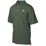 Embroidered Eagle Globe and Anchor Golf Shirt