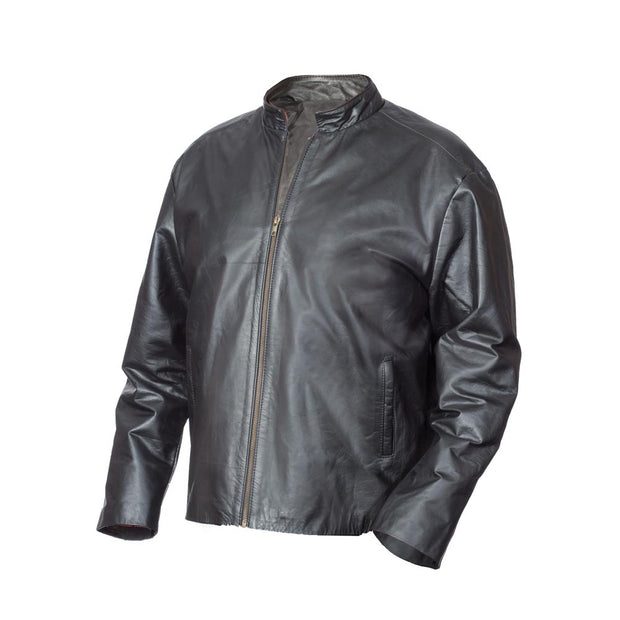 Black Leather Embossed Jacket