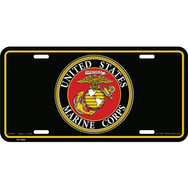 USMC Seal Black License Plate