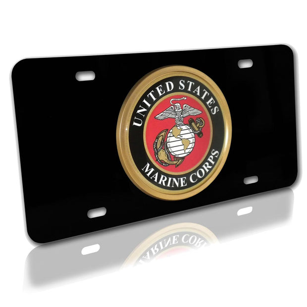 Marines Seal Black License Plate