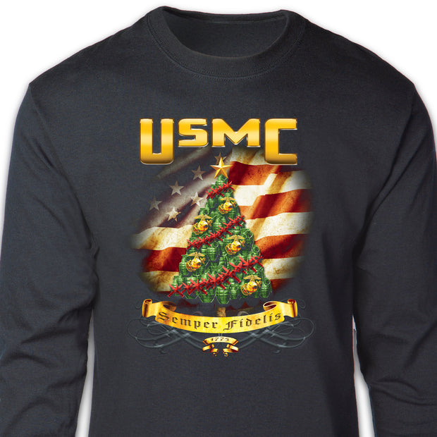 SGT Grit Exclusive Semper Fi Christmas Tree Long Sleeve T-shirt