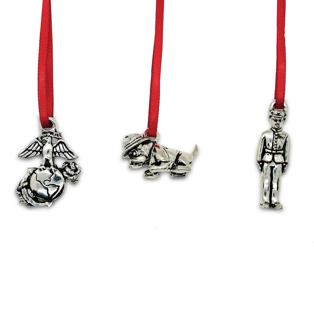 SGT Grit Exclusive Pewter 3pc USMC Boxed Mini Ornaments