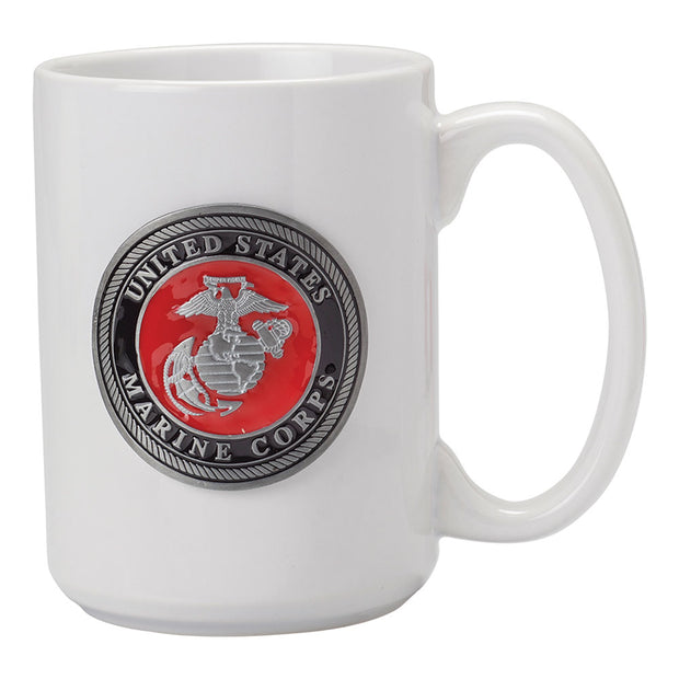Marines 15oz White with color Emblem Mug