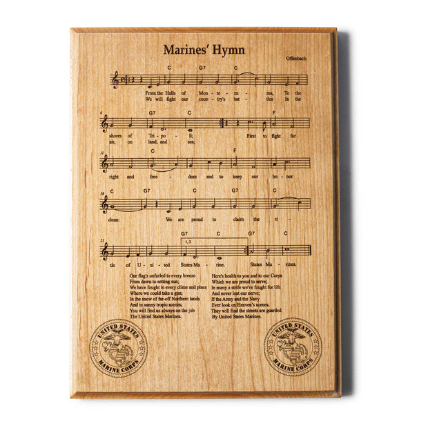 Marines' Hymn Wood Plaque