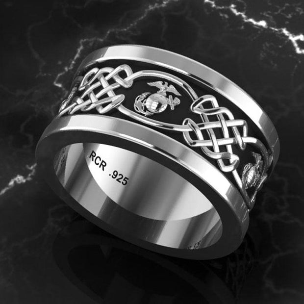 Marine Corps Solid Sterling Silver Wedding Ring