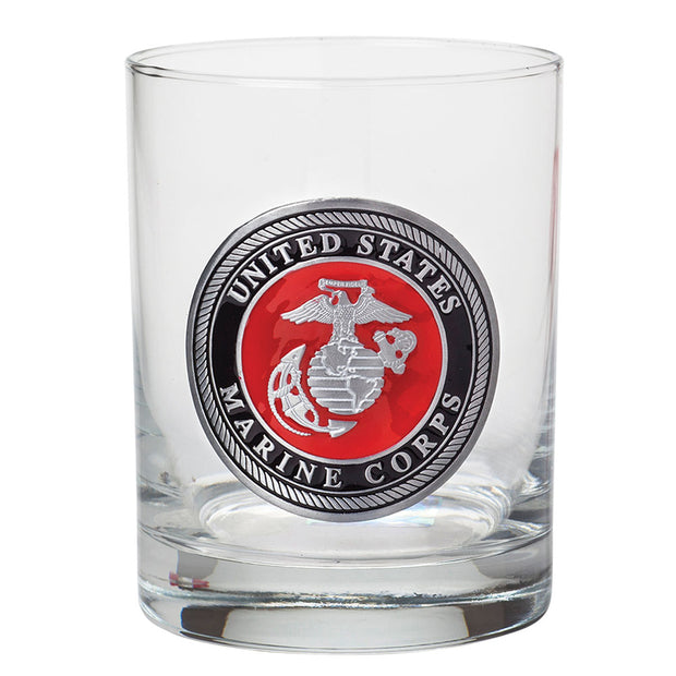 Marines 14oz Rocks Glass Color Emblem