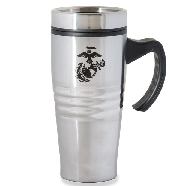 Stainless Steel Travel Mug with Eagle, Globe, and Anchor