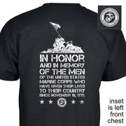 Iwo Jima In Honor Back with Left Chest T-Shirt