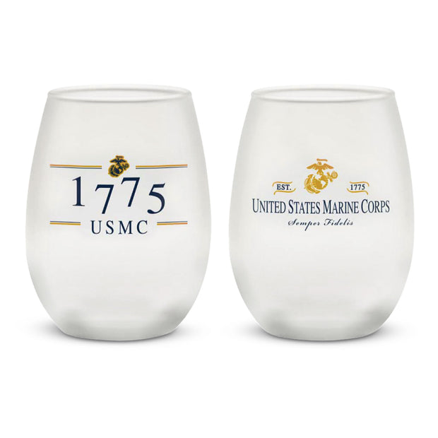 USMC 1775 Frosted Wine Glass