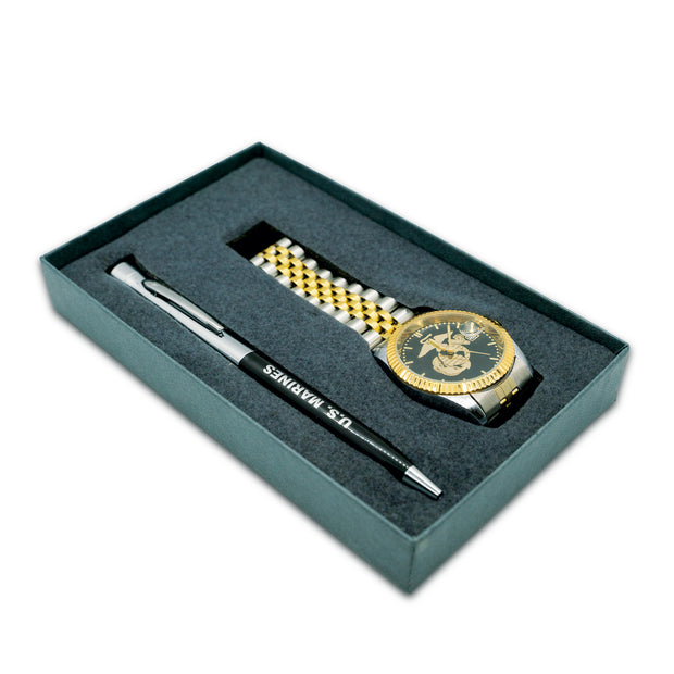 USMC EGA Watch and Pen Set Gold