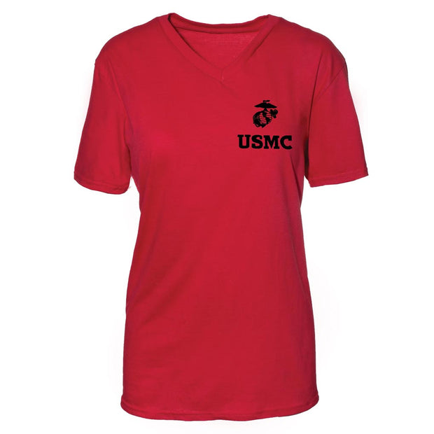 Women's V-Neck Left Chest USMC Eagle, Globe and Anchor T-Shirt