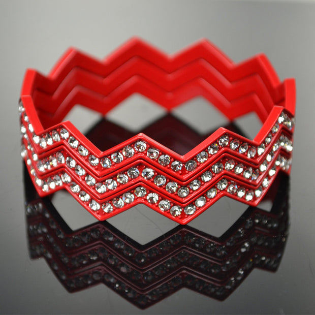 Ladies 3-pc Chevron Bangles with Crystal Accents Set