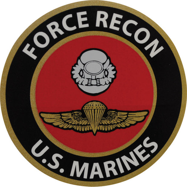 "Force Recon 4"" Black and Red Decal"