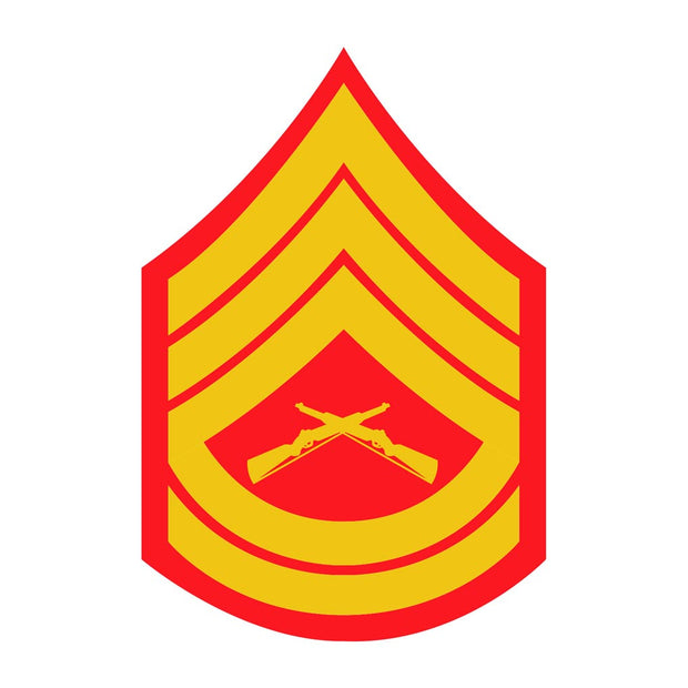 Gunnery Sergeant Red and Gold Rank Insignia  Decal