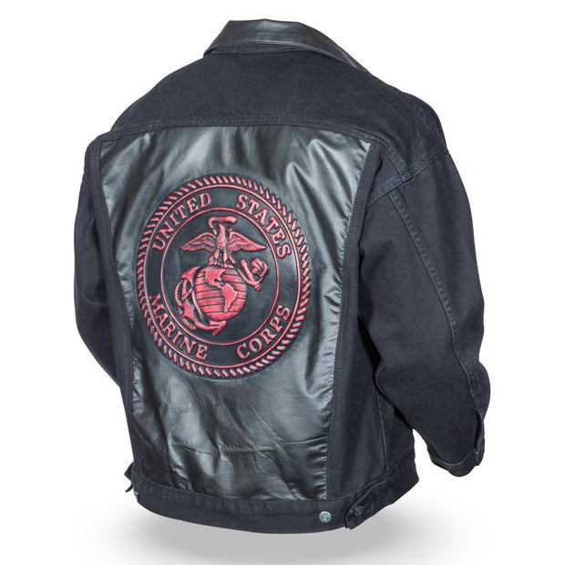 Embossed Blk Denim Leather Jacket