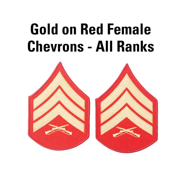 Gold on Red Female Chevrons