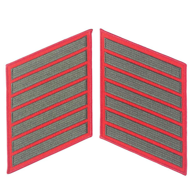 Green on Red Female Service Stripes