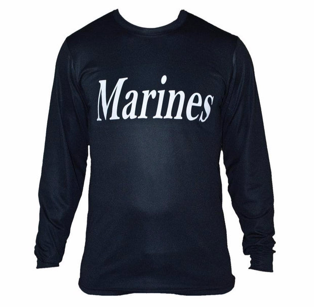 Marines Long Sleeve Black Wicking Shirt
