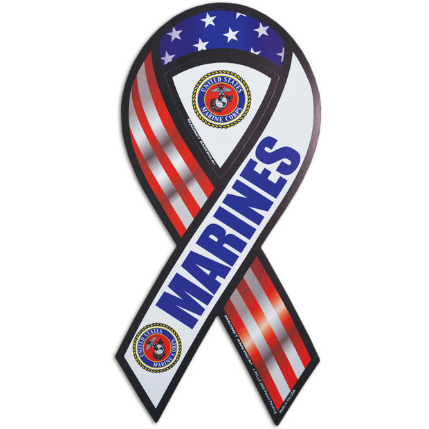 "Red, White, and Blue Marines 8"" Ribbon Magnet"